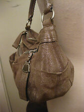 B. MAKOWSKY metallic shoulder bag front zip pockets taupe