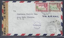 "1943 Curaçao Censored Air Mail Cover to Florida - ""MISSENT"" + RPO Postmark"