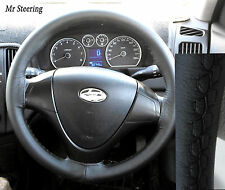 FOR HYUNDAI COUPE 1999-2008 REAL BLACK LEATHER STEERING WHEEL COVER BEST QUALITY