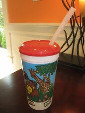 ZOO SAFARI DRINKING CUP WITH STRAW AND LID USED