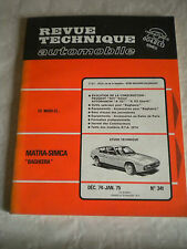 Revue Technique automobile No341 Matra-Simca Bagheera French workshop style 70s