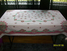 """Vintage Tablecloth Floral Bouquet Fan Ribbon Red Green 1940s 41"""" x 63"""" Christmas"""