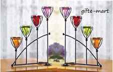 2 modern graduated stair step rainbow ARCH fireplace candelabra Candle holder L