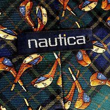 NAUTICA Silk Tie GOLF Theme Green Tartan Plaid Necktie NWOT
