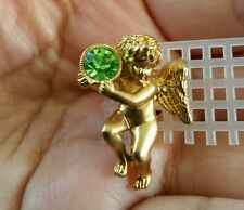 Vintage Gold Angel with Green Rhinestone Religious Lapel Tack Pin Brooch Emerald