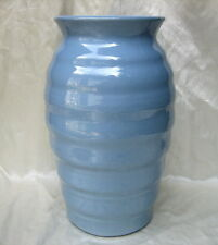 "Zanesville Stoneware Art Deco Ribbed Beehive Pottery Delph Blue 11"" Floor Vase"