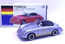 MADE IN JAPAN TOMY TOMICA F9 PORSCHE 356 SPEEDSTER 1/59 SILVER DIECAST TOY CAR