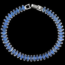 Sterling Silver 925 Genuine Marquise Lavender Chalcedony Tennis Bracelet 7.75 In