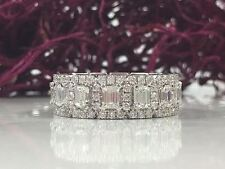 3.91 tcw 14K White Gold Emerald Diamond Eternity Ring, Emerald Cut Engagement