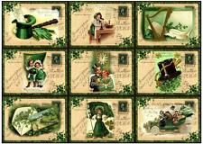 9 ST PATRICKS POSTCARD RETRO VINTAGE 155 lb SCRAPBOOK PAPER CRAFT HANG TAGS