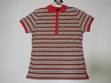 Women's Old Skool Red Collar Shirt with Green and White Stripes Size 2XL