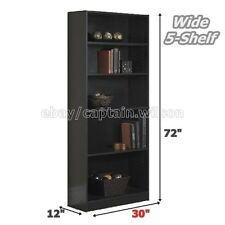 Bookcase WIDE 5 Shelf Bookshelf Black Adjustable Wood Storage Shelving Book