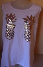 PINK Victoria's Secret Pineapple Sunglasses Bling Campus Muscle Tank White XS