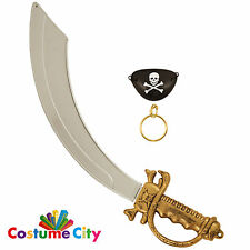 Captain Jack Pirate Sword Eyepatch & Earring Fancy Dress Costume Accessory Set