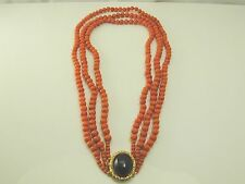 "Antique three strand coral necklace 9 carat gold garnet set clasp 18 1/2"" long"