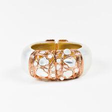 Alexis Bittar Rose Gold Tone Light Silver Lucite Faux Pearl Embellished Bracelet