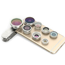Sliver 8in1 Clip-On Fisheye+Wide Angle Macro Camera Lens for iPhone 5S/6/6S Plus