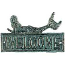 Antique Bronze Cast Iron Mermaid Welcome Sign. Beach-theme Home Wall Decor!