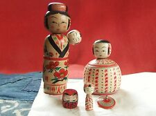 New Japanese wooden kokeshi 2 pcs.Ejiko container  Mother with baby Sato kazuo