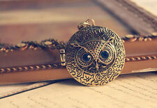 Owl Animal Photo Locket Pendant Sweater Necklace Vintage Women Openable Gift