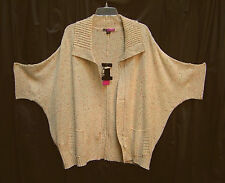 MARLED ZIP-FRONT KNIT CROCHET DOLMAN PONCHO CARDIGAN JACKET SWEATER TOP~3X~NW