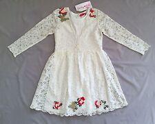 NWT DERHY KIDS GIRLS OFF WHITE LACE DRESS SZ 10/ 12 FLORAL DETAIL  Rene Derhy