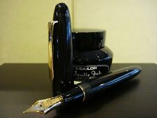 SAILOR KING OF PENS EBONITE BLACK WITH GOLD TRIM FOUNTAIN PEN GORGEOUS 21K NIB