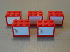 Lego - 5 Red & White Container / Cupboard 2 x 3 x 2 (4532 4533)
