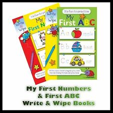 CHILDREN'S MY FIRST NUMBERS & MY FIRST ABC WRITE AND WIPE FUN PRACTICE BOOKS UK