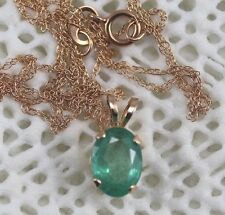 Natural 1 Carat Emerald 14k Pendant Solid Gold Setting and Chain May Birthstone