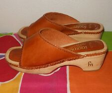 VINTAGE 1970 FOOTNOTES WOOD BOTTOM PEEP TOE CLOGS SANDALS  Size 7 M