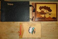 3 VINTAGE PHOTO ALBUMS Suede Indian HILLS LAKE WOOD MARQUETRY & Embossed Leather