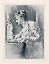 """Elegant Marcus Stone 1800s Antique Print """"Welcomed Footsteps"""" Signed Framed COA"""