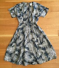 Kate Spade Navy Blue Flare Dress White Feather Print Womens Sz 4