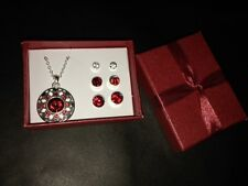 Avon  Sexy Color Delight 4 piece Necklace and Earring Set NIB Valentine Red.
