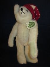"GREEN MOUNTAIN Mary Meyer Teddy Bear 14"" Cream / Light Tan Red Hat NEW with TAG"