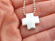Tiffany & Co RARE VINTAGE Silver Cross Bead Beaded Chain Necklace!