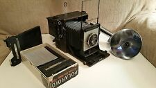 Vintage Graflex Speed Graphic 4x5 camera, flash & 1 poloroid back