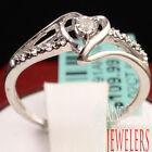 LADIES WOMENS HEART SHAPE WHITE GOLD FINISH PROMISE GENUINE DIAMOND RING BAND