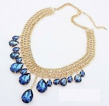 TearDrop Jewel Crystal Gold Tone Layered Bib Choker boho Statement Necklace N226