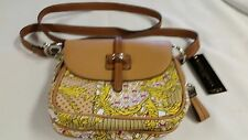 Tignanello cloth and leatherette cross body Gold chain design handbag NWT