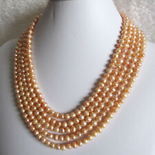 """100"""" 6-7mm Peach Pink Fresh Water Pearl Strand Necklace"""