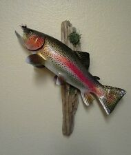 Rainbow Trout Sculpture Carving fishing art with Orvis Fly, reel look wall mount