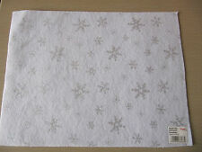 White Felt Sheet Silver Glitter Snowflakes Craft Factory Acrylic A4 AF05 Xmas