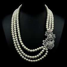 White Pearl Rhodium Plated Clear Crystal Rose 3 Rows Strand/String Necklace 7105