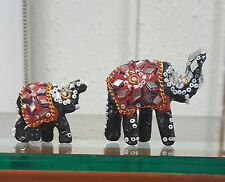 Beaded Mirrored Mother and Child Elephants