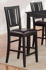 Set of 2 Buckland kitchen counter height chairs with faux leather seat in black