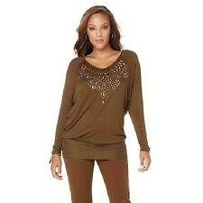 DG2 by Diane Gilman Top with Jewels  L Olive Retail $59 430869335483