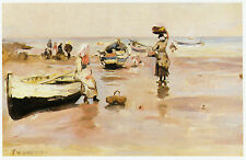 Fishing Cobbles Staithes Fred Jackson 10 x 12  inch ready mounted print SUPERB