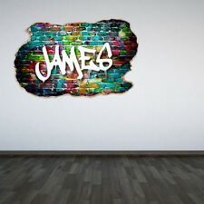 Personalised Graffiti Name Smashed Wall Sticker 3D Decal Boys Girls Bedroom
